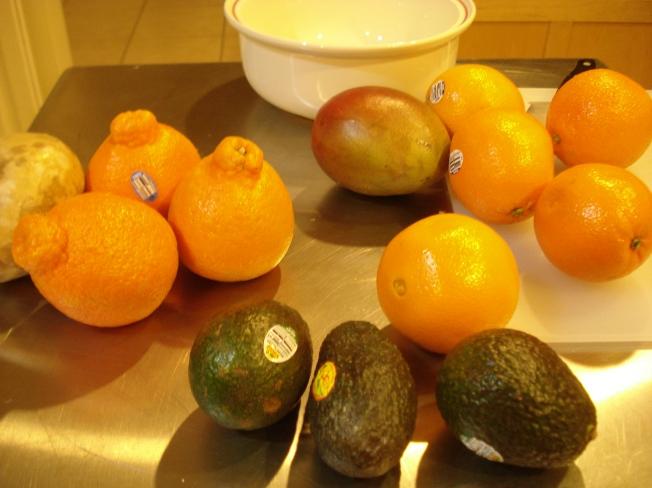 Oranges, mango, Avocado